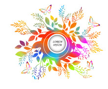 Round Multicolored Frame Of Flowers. Vector Illustration