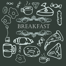 Vector Food, Breakfast Hand Drawn Set. Vintage And Dark Illustration.