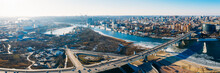 Voroshilovskiy Bridge Above Don River And Rostov On Don Aerial Panoramic View Of Beautiful Winter Russian City.