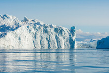 Greenland. Ilulissat. Zodiac Cruising Among The Icebergs In The Icefjord.