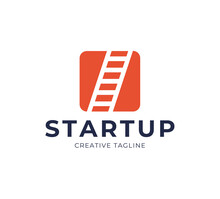 Startup Step Stairs Ladder Logo Design Vector. Square With Stairs In Negative Space