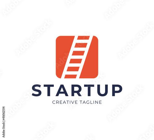 Startup Step Stairs Ladder Logo Design Vector Fototapeta