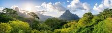Panoramic View Of Mont Rotui On Moorea Island, French Polynesia