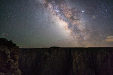Milky Way Galaxy Above Black Canyon In Colorado, Astrophotography NIght Sky Starry Night Background, Science Astronomy Concept