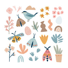 Set Of Hand Drawn Spring Or Summer Nature Elements, Animals. Colorful Flowers, Butterflies And Moth. Abstract Shapes, Rainbow And Bird. Flat Modern Kids Design. Isolated Vector Illustrations, Icons