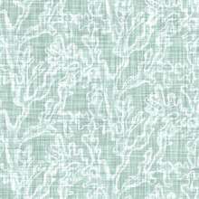 Aegean Teal Mottled Seaweed Linen Texture Background. Summer Coastal Living Style 2 Tone Fabric Effect. Sea Green Wash Distressed Grunge Material. Decorative Kelp Motif Textile Seamless Pattern