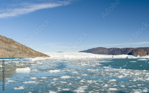 Canvastavla Store Glacier and icebergs in the Uummannaq Fjord System, Greenland, Danish overseas colony