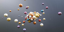 A Composition From Magnetic Colorful Metal Balls Abstract 3d Render Illustration