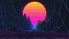 4K Retro Neon Sunset. Synthwave Vintage 3D Neon Landscape. VHS VJ Background