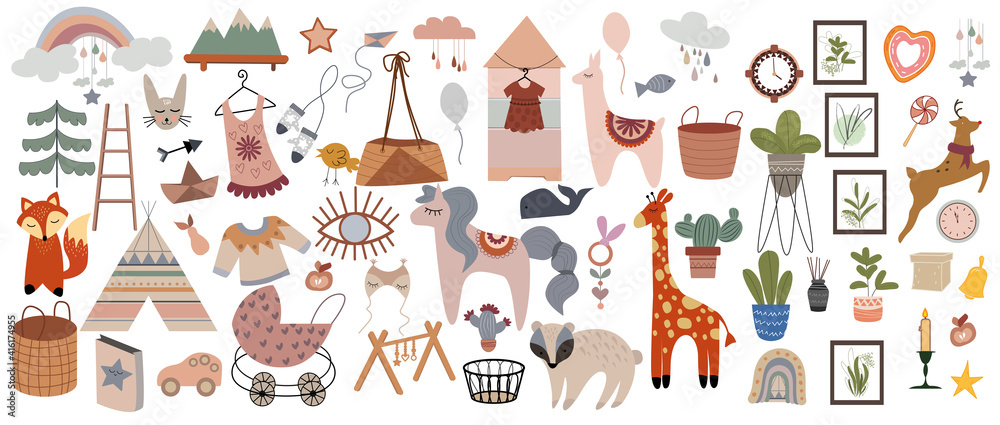Fototapeta Set of cute boho baby objects in Scandinavian style. Trendy baby and children icons, sticker,postcard,birthday invitation. Сool animal decorative hand drawn elements. Vector illustration