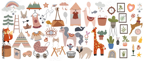 Set of cute boho baby objects in Scandinavian style. Trendy baby and children icons, sticker,postcard,birthday invitation. Сool animal decorative hand drawn elements. Vector illustration