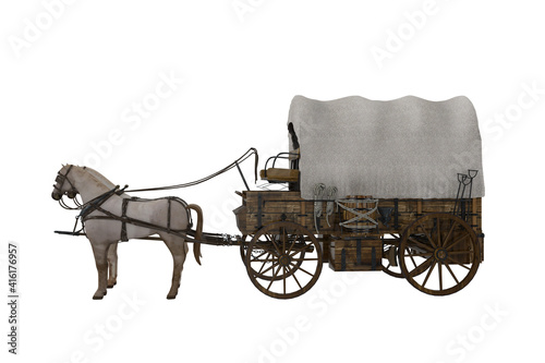 Old western style covered wagon pulled by two white horses Wallpaper Mural