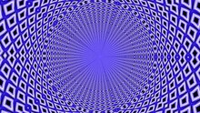 Abstract Blue Color Circular Small Geometric Patterns Seamlessly Evolves On Black Background. 4K 3D Endless Looping. Psychedelic Optical Illusion Of Striped Motion Graphic Pattern Rotation. VJ Loop.