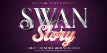 Metallic Swan Text Effect, Editable Shiny And Elegant Text Style.