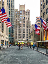 American Flag Flying In Rockefeller Plaza In Manhattan New York