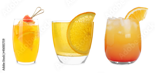 Valokuva Set with delicious Mimosa cocktails on white background, banner design