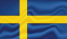 Grunge Sweden Flag. Sweden Flag With Waving Grunge Texture.