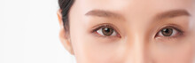 Close Up Of Beauty Asia Woman Eye On White Background