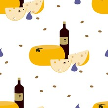 A Large Head Of Cheese, Slices And A Bottle Of Dry Red Wine. Seamless Vector Pattern.