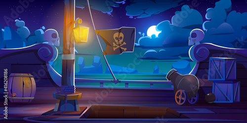 Pirate ship deck onboard night view, wooden boat with cannon, glow lantern, wood Fotobehang