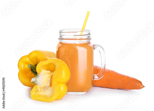Canvastavla Mason jar of healthy smoothie with carrot and bell pepper on white background