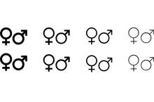 Male Female Sign, Men Women Symbol, Toilet Wc Vector Icon Set.  For Your Design. Vector EPS10
