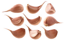 A Set Of Garlic Cloves. Isolated On A White Background