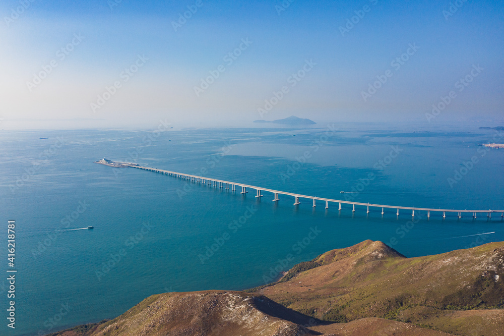 Fototapeta aerial view of Hong Kong-Zhuhai-Macao Bridge, the longest sea crossing and the longest open-sea fixed link in the world