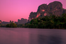 Nong Thale Mueang Krabi District Is A Reservoir Surrounded By Mountains, Mountains And Stars. Beautiful At Dawn And There Is A Fog Of Water Floating Over The Surface Of The Water.