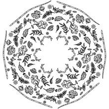 Simple Mandala Shape For Coloring. Vector Mandala. Circular. Flower. Oriental. Coloring Book Page. Outline.