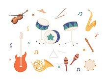 Set Of Percussion, Wind, Brass And Stringed Music Instruments. Drums, Sax, Maracas, Horn, Electric Guitar, Fiddle, Violin, Fife And Tambourine. Flat Vector Illustration Isolated On White Background