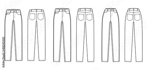 Obraz Set of Skinny Jeans Denim pants technical fashion illustration with full length, normal low waist, high rise, 5 pockets, Rivets. Flat bottom template front back white color style. Women men CAD mockup - fototapety do salonu