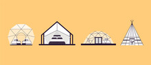 Collection Of Glamping Houses. Summer Country Houses And A Frame Cottages, Alpine Chalet, Camping, Mountain House. Cartoon Style, Flat Illustration. For Websites, Wallpapers, Posters Or Banners