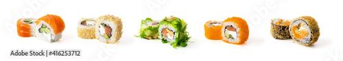 Fotografia Set of sushi rolls isolated on white background