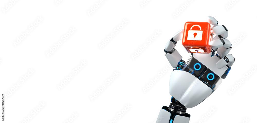 Fototapeta Robot Hand Cube DLock