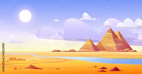 Carta da parati Egyptian desert with river and pyramids