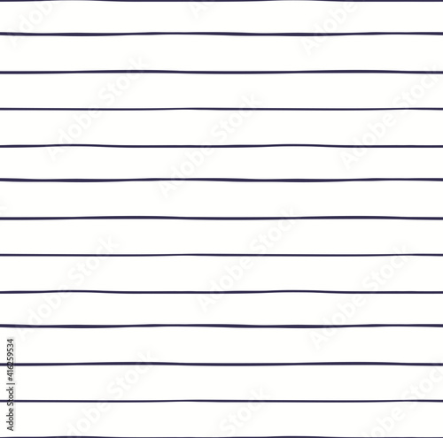Horizontal stripes nautical seamless geometric pattern, blue on white background. Hand drawn Scandinavian style vector illustration. Line art. Design concept for kids fashion print, textile, wallpaper