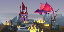 Dragon Attack Castle, Fantasy Magic Character Breathing With Fire Destroy Medieval Palace. Fairytale Flying Animal, Epic Scene For Book Or Computer Game, Mystical Creature, Cartoon Vector Illustration