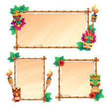 Bamboo Frames With Tiki Masks, Old Parchment And Burning Torches, Tribal Wooden Totems, Hawaiian Or Polynesian Style Borders For Hut Bar Signboard, Cartoon Vector Illustration, Banners Or Posters Set