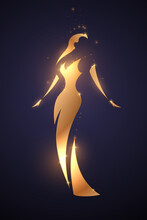 Golden Woman Silhouette With Glow Effect
