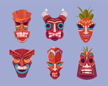 Tiki Masks, Hawaiian Tribal Totem, Wooden God Faces With Horns And Leaves. Vector Cartoon Set Of Polynesian Traditional Statues, Ancient Wood Tikki Masks Isolated On Purple Background