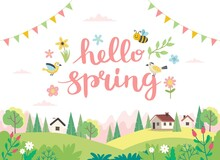 Hello Spring Card With Lettering And Cute Landscape. Hand Drawn Flat Cartoon. Vector Illustration