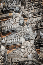Detail Of A Pagoda With Statues Of Nats In Tharkhaung Buddhist Monastery In Burma, Myanmar