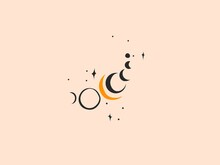 Hand Drawn Vector Abstract Stock Flat Graphic Illustration With Logo Elements,woman Fashion Magic Line Art Hands Touch Moon Phases And Stars In Simple Style For Branding,isolated On Color Background