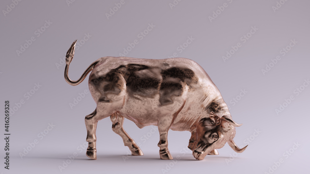 Fototapeta Bronze Brass Muscular Bull 3d illustration render
