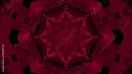 Fototapeta 3D illustration of symmetric fuchsia kaleidoscope background