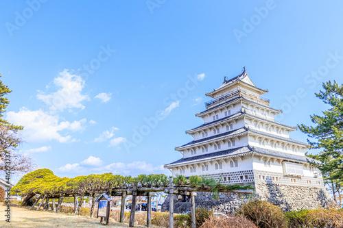 冬の島原城と松の木 長崎県島原市 Shimabara castle in winter and pine tree Nagasaki-ken Shimabara Fototapet