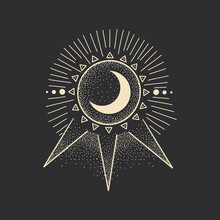 Vintage Retro Vintage Engraving Style. The Sun, Moon Phases, Crystals, Magic Symbols. Print In The Interior And Design. Vector Graphics