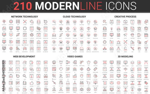 Fototapeta 210 modern red black thin line icons set of web development, video games, 3d modeling, network technology, cloud data technology, creative process collection vector illustration. obraz