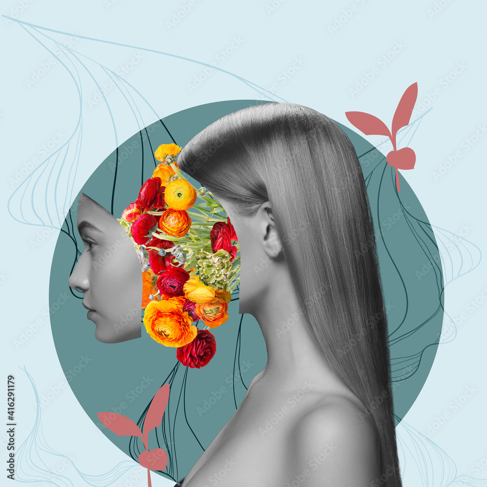 Fototapeta Contemporary art collage. Beautiful young girl and red yellow flowers isolated on light background. Black and white portrait. Copy space for text, ad. Side view. Square composition. Modern artwork.